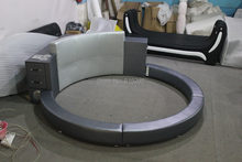 Y01Speaker large size round bed with music speaker leather soft bed with music player(China)