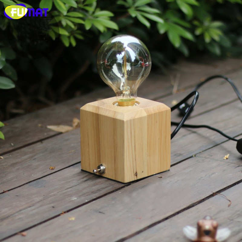 FUMAT Dimmer Switch Table Lamps Loft Vintage Wooden Desk Lamp with Edison Bulb Cafe Art Decor Retro E27 Table Light for Bedroom loft retro coffee shop table lamp wood vintage desk lamp dimmable 40w edison bulb 220v bedroom bar table light desk light wooden