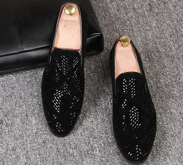 Oscuro Negro plata Zapatos gris De Ante gris Tachonado Terciopelo Rhinestone Remaches Mocasines Lujo Vestido Oro Hombres Marca Negro BaxvqdTwd