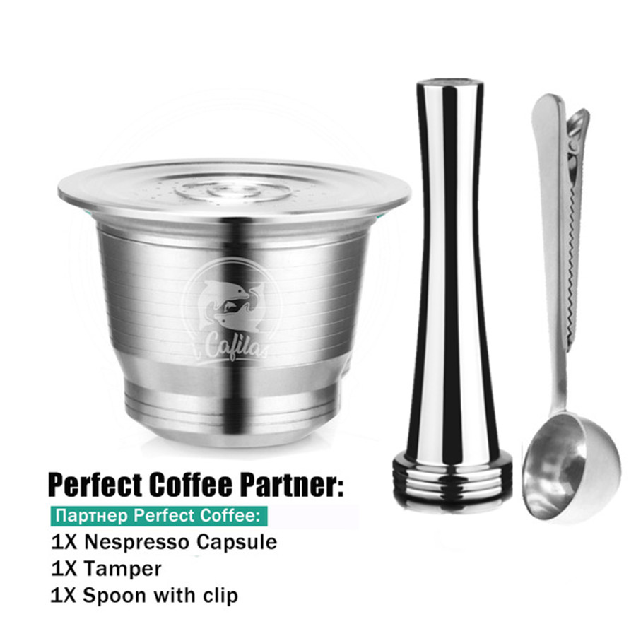 Stainless Steel Nespresso Coffee Filter Reusable Capsule +Stainless CoffeeTamper +Multifunction Metal Coffee Spoon With Clip