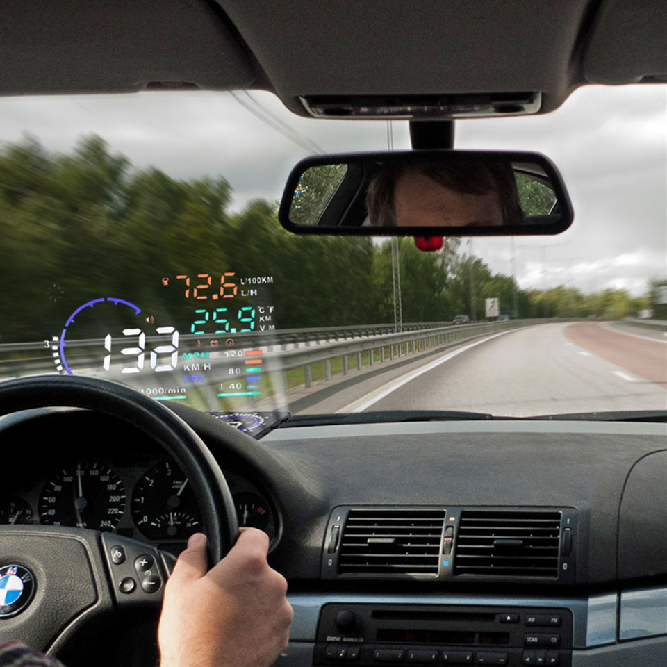 Car Head Up Display Projector Shows Speed Warning Fuel Consumption