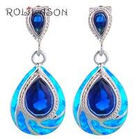 ROLILASON Classic Blue Fire Opal 925 Silver Australia Blue Zirconia Dangle Earrings For Women Fashion Jewelry