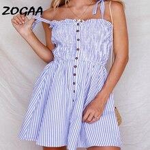 ZOGAA Casual Striped Short Dress Women 2019 Summer Holiday Sexy Beach Chiffon Button Dress Femme Bows Lace Up Vestidos De Festa недорого
