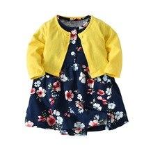 Children newborn Baby girls clothes cotton 2 pieces suit cardigan+short sleeve floral Bodysuit dress babe girl clothing set