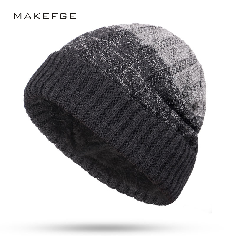 New knitted men's hats velvet thick warm and comfortable male winter caps unisex man skullies slouchy beanie gorros invierno
