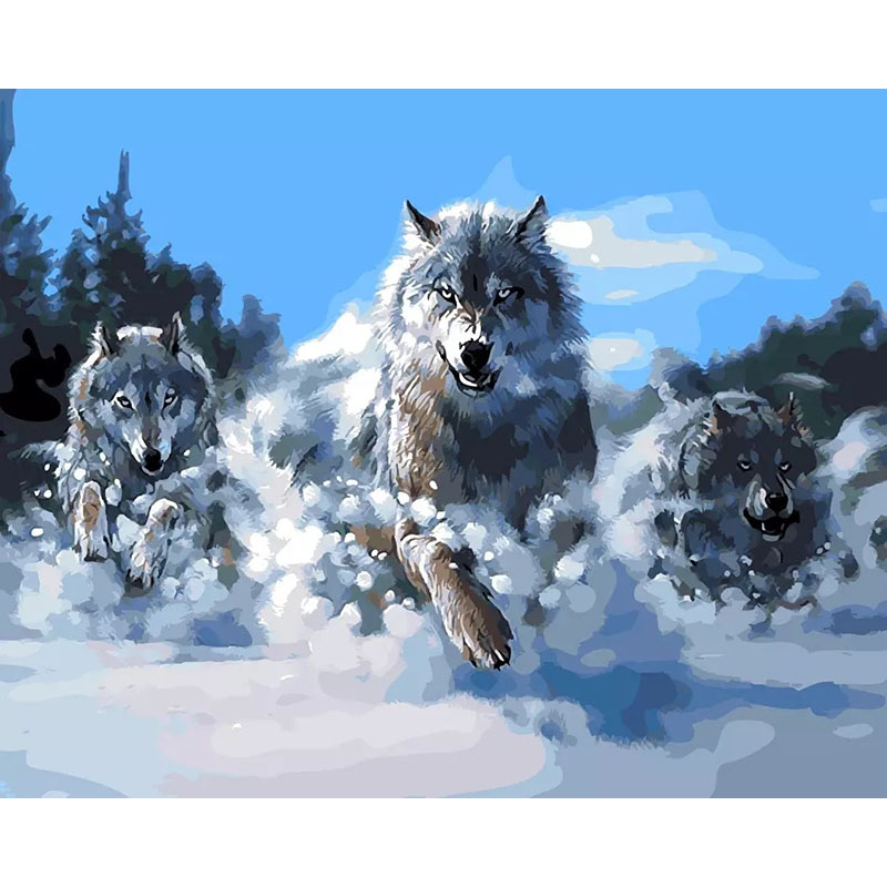 Acrylic Picture Running Wolf Diy Digital Painting By Numbers Kits Coloring Paint By Numbers Modern Wall Art Picture 40x50cm in Painting Calligraphy from Home Garden