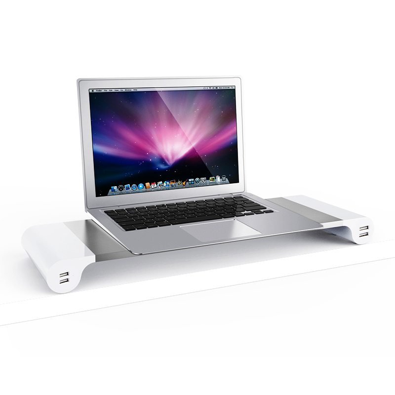 мониторы совместимые с mac mini - Premium Aluminum Monitor Stand with 4 ports USB for iMac, Mac Mini, MacBook Pro, Air / Windows PC, Laptop,Desktop