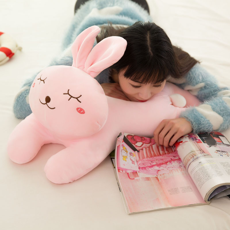 Candice guo plush toy stuffed doll cartoon animal pink papa shy rabbit bunny sleeping pillow soft cushion baby birthday gift 1pc