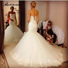 Strapless Long Mermaid Lace Wedding Dresses Sweetheart Lace Up Back Bridal Gown Custom Made