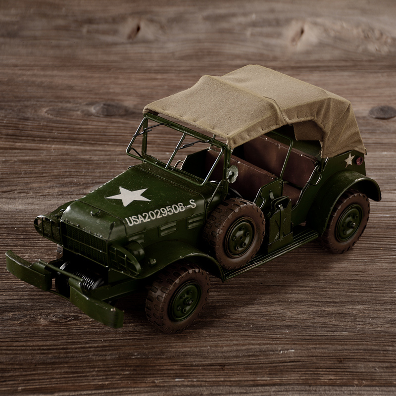 retro automobile model of World War II Military vehicles old Jeeps ...