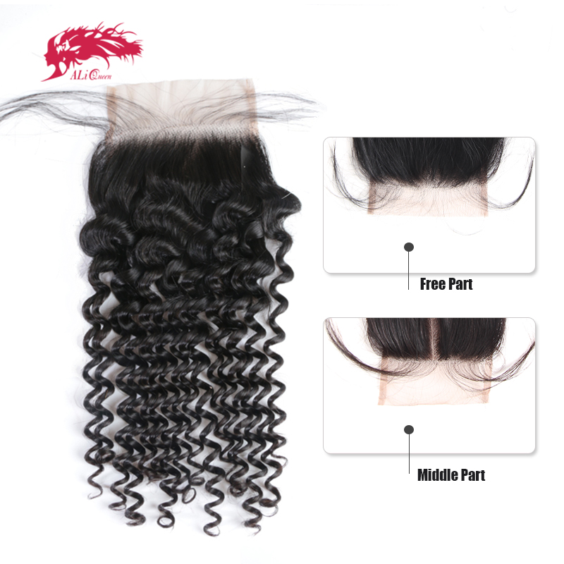 Ali queen hair бразильское кружево Закрытие глубокая волна 4x4 девственные человеческие волосы закрытие свободная часть/средняя часть с волосами ...