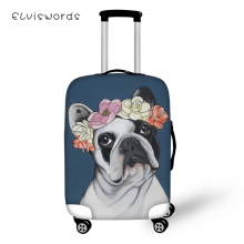 ELVISWORDS Cute Suitcase Protective Cover Little Bulldogs Pattern Elastic Dust-proof Waterproof Travel Luggage Accessories
