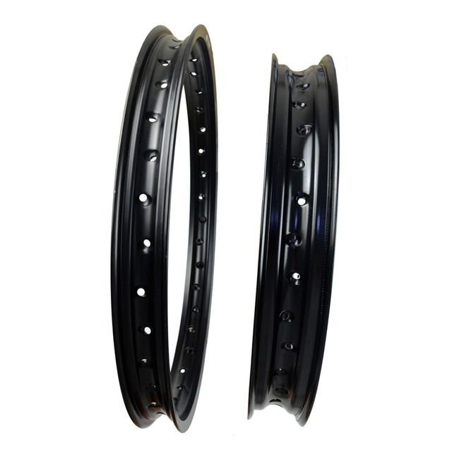 6061 Front + Rear Motorcycle Rims Aviation Aluminum Wheel Circle 2.15x19 & 1.60x21 36 Spoke Hole High Strength Black Rim