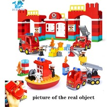 Diy Big Size City brandweer Department Firemen Building Blocks Compatible with legoergy Duploed Hobbies Toys for Baby Children