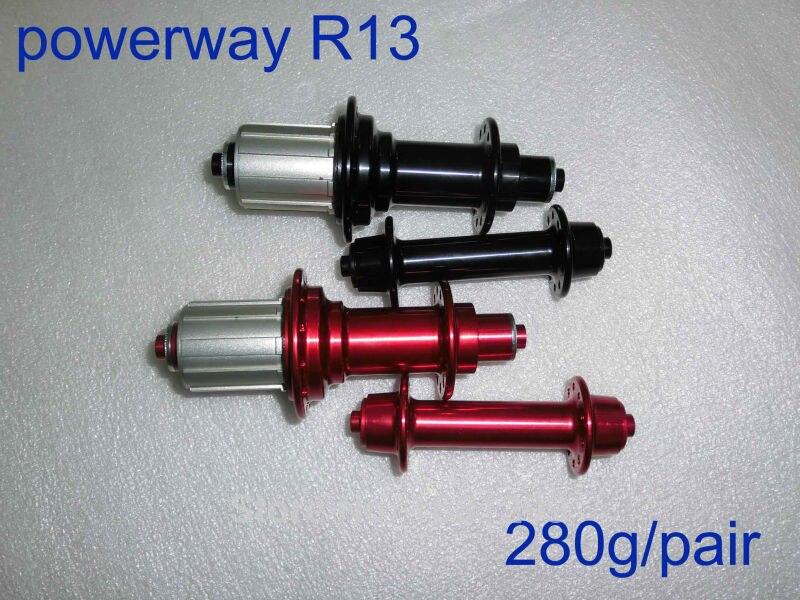 Tout nouveau Powerway R13 moyeux de vélo de route en alliage d'aluminium les plus légers avec brochettes pièces de vélo de route noir blanc rouge livraison gratuite