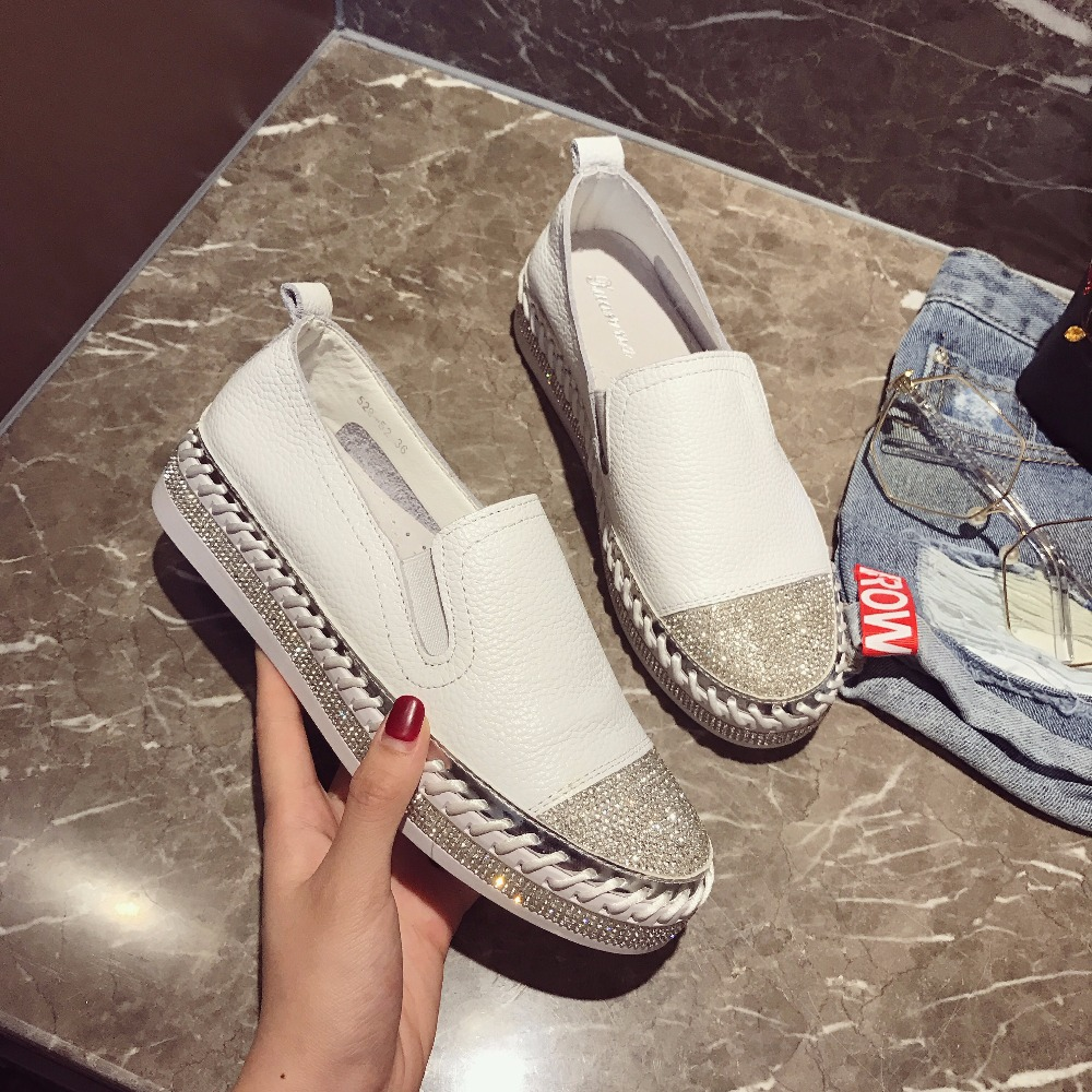 European Famous Brand Patchwork Espadrilles Shoes Woman Genuine Leather Creepers Flats Ladies Loafers White Leather Moccasins(China)