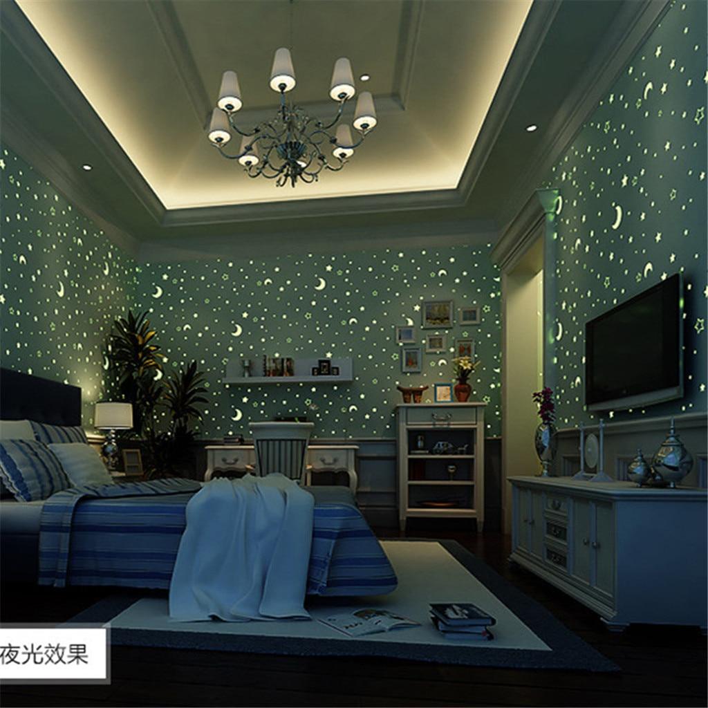 Autocollants muraux non tissés lumineux papier peint chambre d'enfants chambre décoration de la maison autocollants muraux fluorescents environnementaux 7.11
