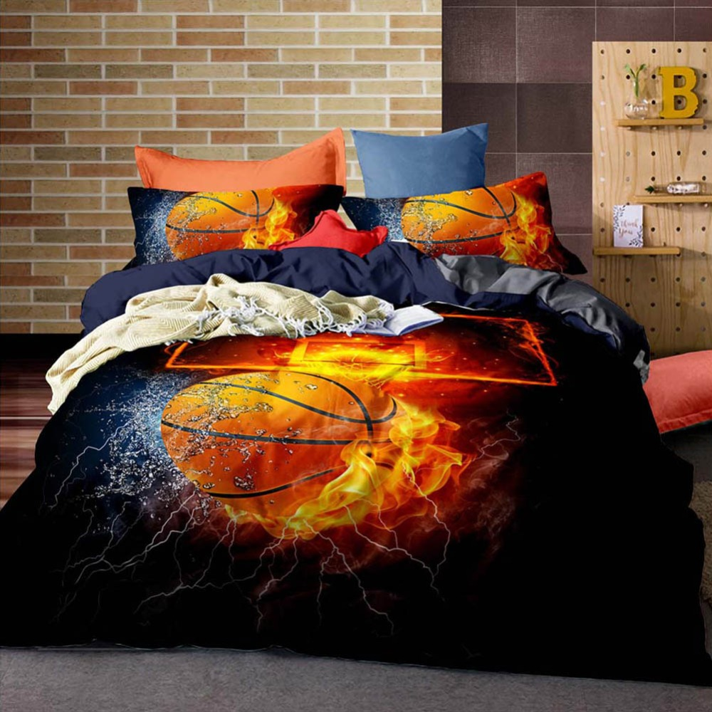 3/2pcs 3D Basketball Printed Bedding Set King Size Duvet Cover Sets Football Rugby Bed Polyester Quilt Cover Ball Games Boy Gift