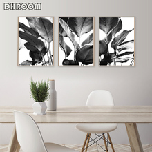 Black and White Wall Art Canvas Prints Banana Leaves Painting Tropical Palm Leaves Posters Nordic Wall Picture for Living Room