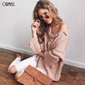 ORMELL 5 Cores Lace Up Inverno Camisola de Malha Mulheres 2016 Streetwear Pullover Solta Cintura Elástica Malhas Outono Casual Outwear