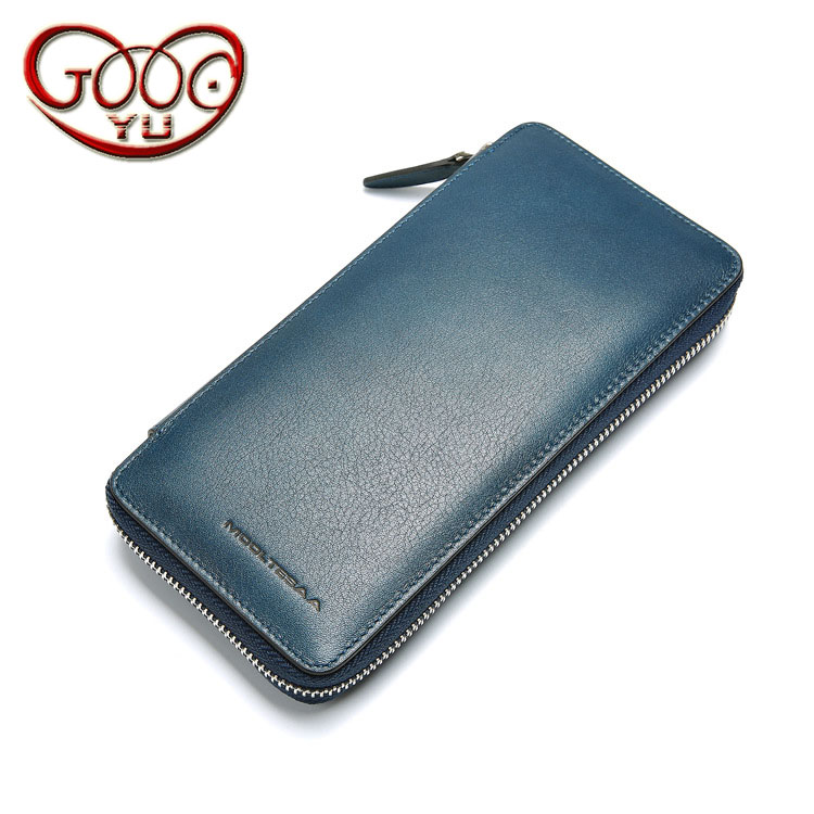 Mens long first layer of leather clutch leather business casual zipper multi-card bit mens wallet clutch bag
