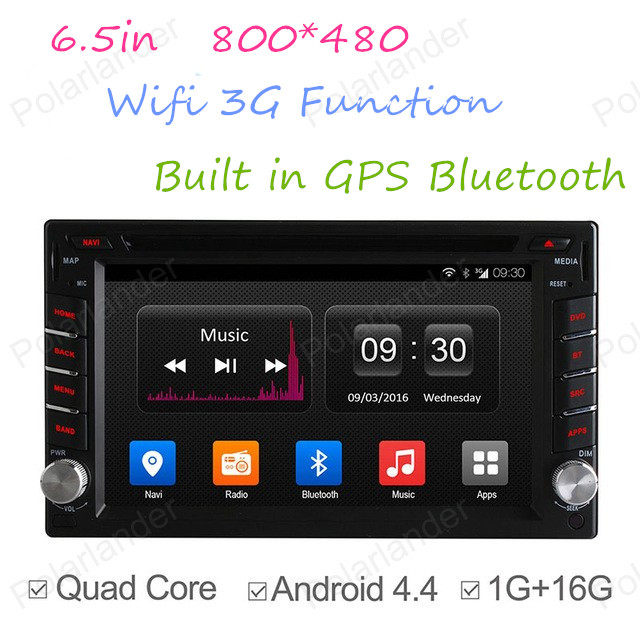 6.5in Quad Core voiture DVD Android 4.4 pour autoradio 2 Din GPS NAVI Radio BT 800*480 support DAB + TPMS DVR