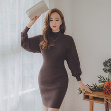 Autumn Slim O-neck Lantern Sleeve Knitted Sweater Dresses Women Casual Warm Hip Packaged Knitwear Fashion Pullover Dress Vestido
