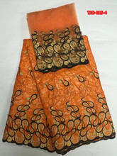 Orange guinea brocade fabric with gold pattern 5yards bazin shadda lace with 2yards african tulle lace for top Dec-13-2017(China)