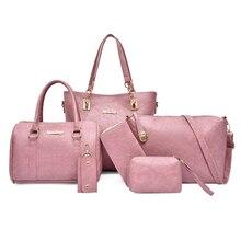 цена на Leather Handbags 6pcs Bag Set For Women Brand Designer Crossbody Shoulder Bag Ladies Large Tote Composite Bag Clutch Purse Bolso