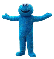 free adult blue cookie monster mascot costume dress up adult free shipping for Halloween