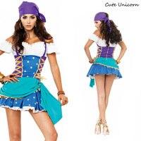 Vrouwen Gypsy Piraat Kostuum Halloween Carnaval Uniformen Party Cosplay Kostuums Fancy Dress Caribbean Pirates sexy Outfit