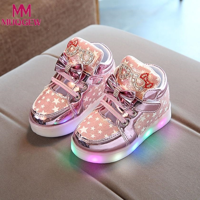 Kids Colorful Lighted Shoes Girls Glowing Sneakers Children Star Luminous Shoes With Led Light Baby Girl Lovely Casual Boots