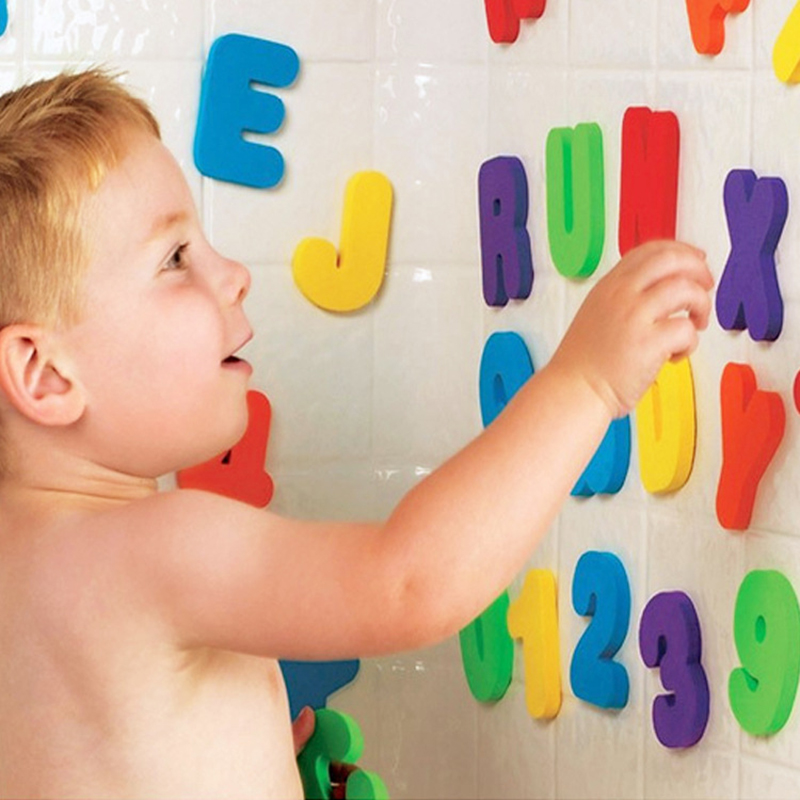 Children Bath Toys Toddlers 36pcs/Set Alphanumeric Letter Puzzle Infants Early Educational Tool Toys Toddlers Summer Water Toys