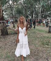 2018 Sexy Lace Strapless Women's Dress Solid Color Backless Long White Dress Sweet Princess Beach Dress Patchwork Boho Dresses