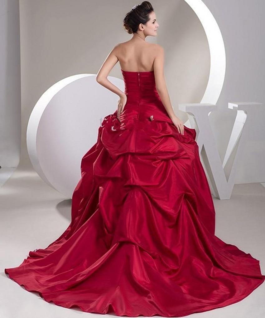 Sexy Ballkleid Satin Braut Billige Rote und Weiße Brautkleider ...