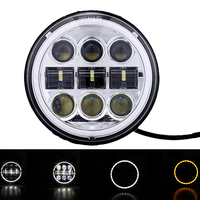 5.75'' 5 3/4 Motorcycle projector 45W Led Headlight Lamp DRL Angel eye Black /Chorme For Dyna Softail Sportster 883
