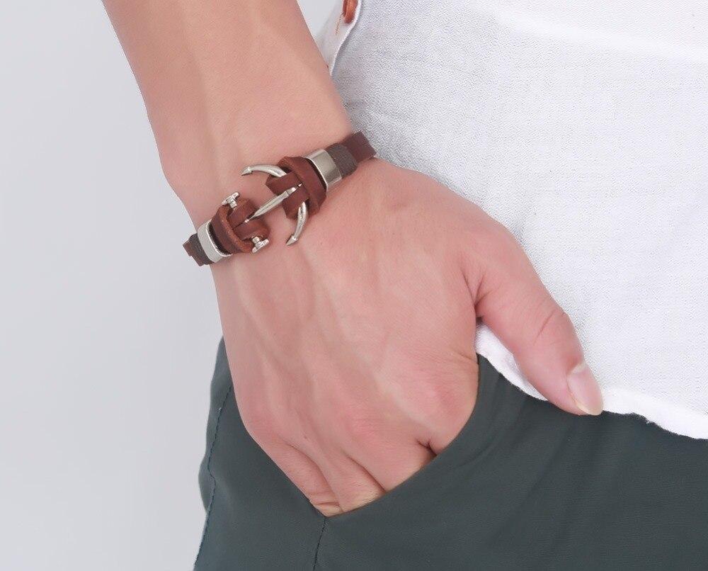 Fashion Summer Jewelry Vintage Brown Genuine Leather Bracelet Stainless Steel Anchor Men Women Bangle Bracelets For Gift SMT0082