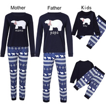Купить с кэшбэком JXYSY 2019 New Family matching Pajamas Set Family Matching Outfit Mother Father Kid Clothes Bear Printed clothes Kids Nightwear
