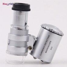 Мини 60x ручной микроскоп Лупа валюта обнаружения со светодиодной и УФ-подсветкой