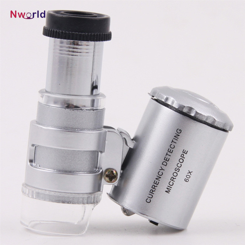 Mini 60x กล้องจุลทรรศน์แบบใช้มือถือ Loupe ตรวจจับด้วย LED และ UV Light