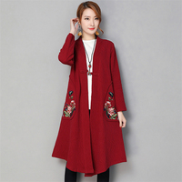 2018 New Spring Autumn Women Literature Embroidered Long Sleeve Long Cardigan Trench Coat Large Size Women's Clothing A275
