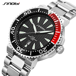 SINOBI Watch Men Wrist Watches Luminous Pointer Stainless Steel Watchband Luxury Brand Male Sports Geneva Quartz Watches Saat