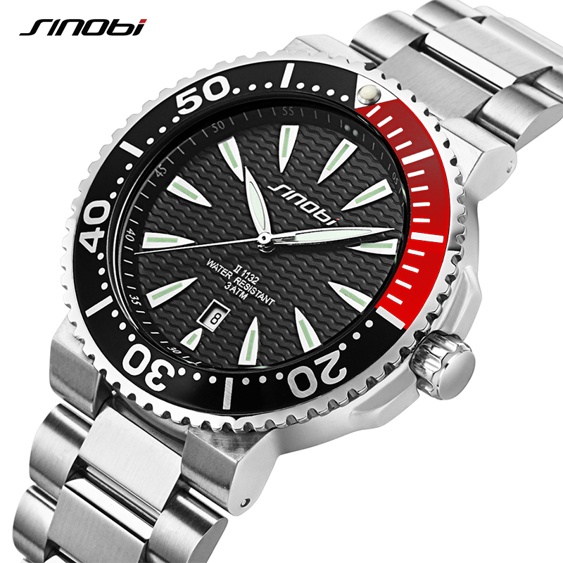 SINOBI Watch Men Wrist Watches Luminous Pointer Stainless Steel Watchband  Luxury Brand Male Sports Geneva Quartz Watches Saat