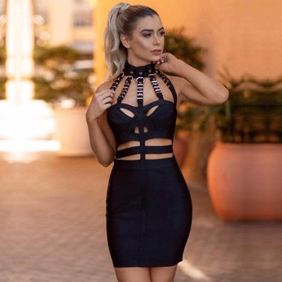 Réservoir Moulante Adyce Celebrity Black D'été Manches Bandage Sexy Club Sans Robe Party Femmes Nouvelle 2018 Évider BBp1wqU7