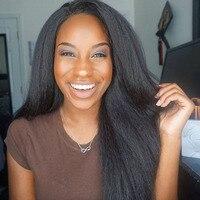 130% Density Full Lace Wig Kinky Straight Wigs Brazilian Human Hair for Black Women Preplucked Bleached Knots