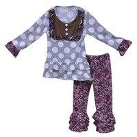 Fashion Herbst Winter Mädchen Outfits Polka Dot Baby Bib Tops Kinder Violet Floral Rüschen Pant Großhandel Kinder Kleidung Sets F088