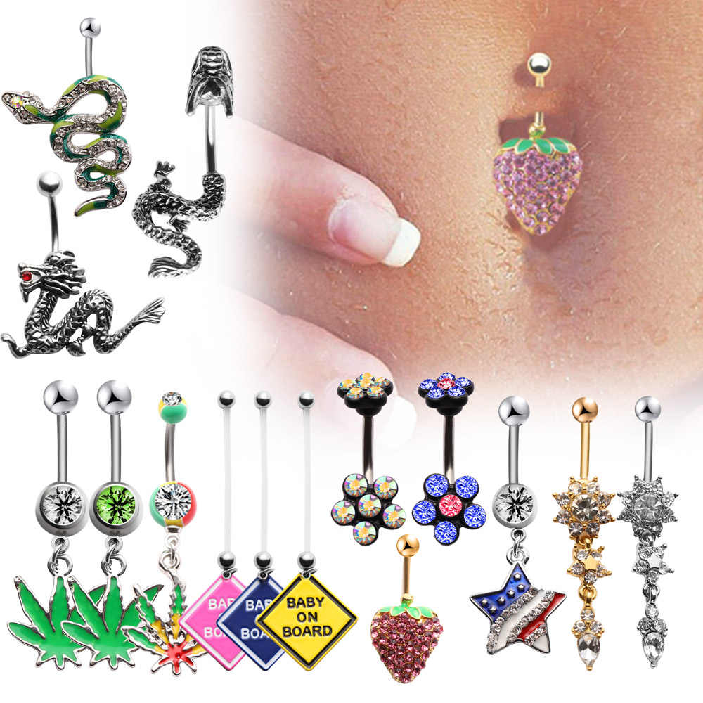 1 PC Sexy CZ Crystal Dragon Snake Navel Bars Belly Button Rings Dangle Flower Body Navel Piercing Rings Jewelry for Women