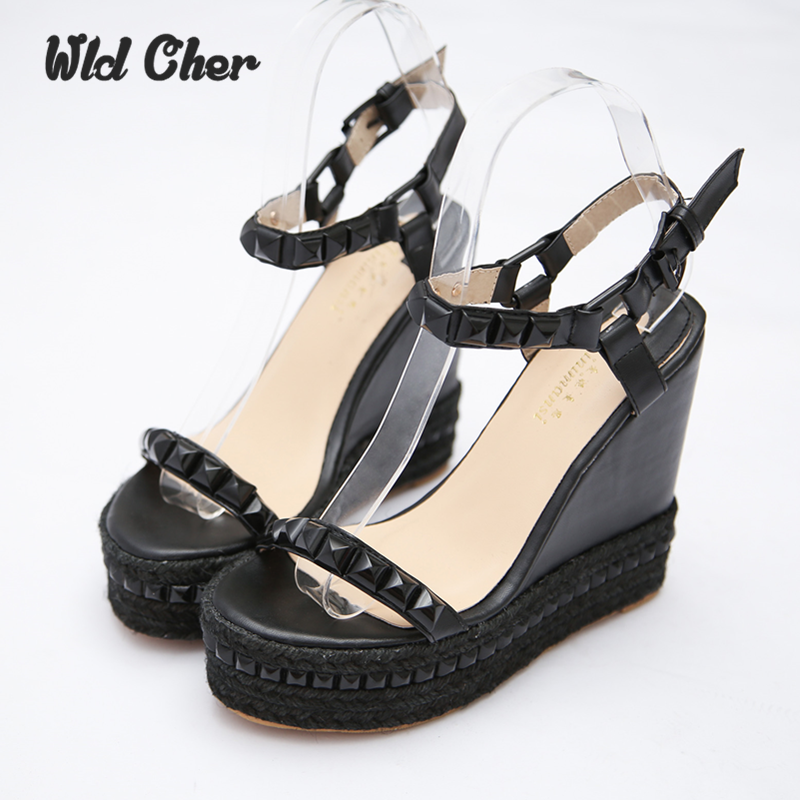 Roman Sandals Summer High Heels Shoes Rivet Peep Toe Platform Wedges Sandals Women Small Size 33 -39 Zapatos Mujer Plataforma summer zapatos mujer peep toe 15cm thin high heels sandals crystal platform sexy woman shoes wedding dance shoes