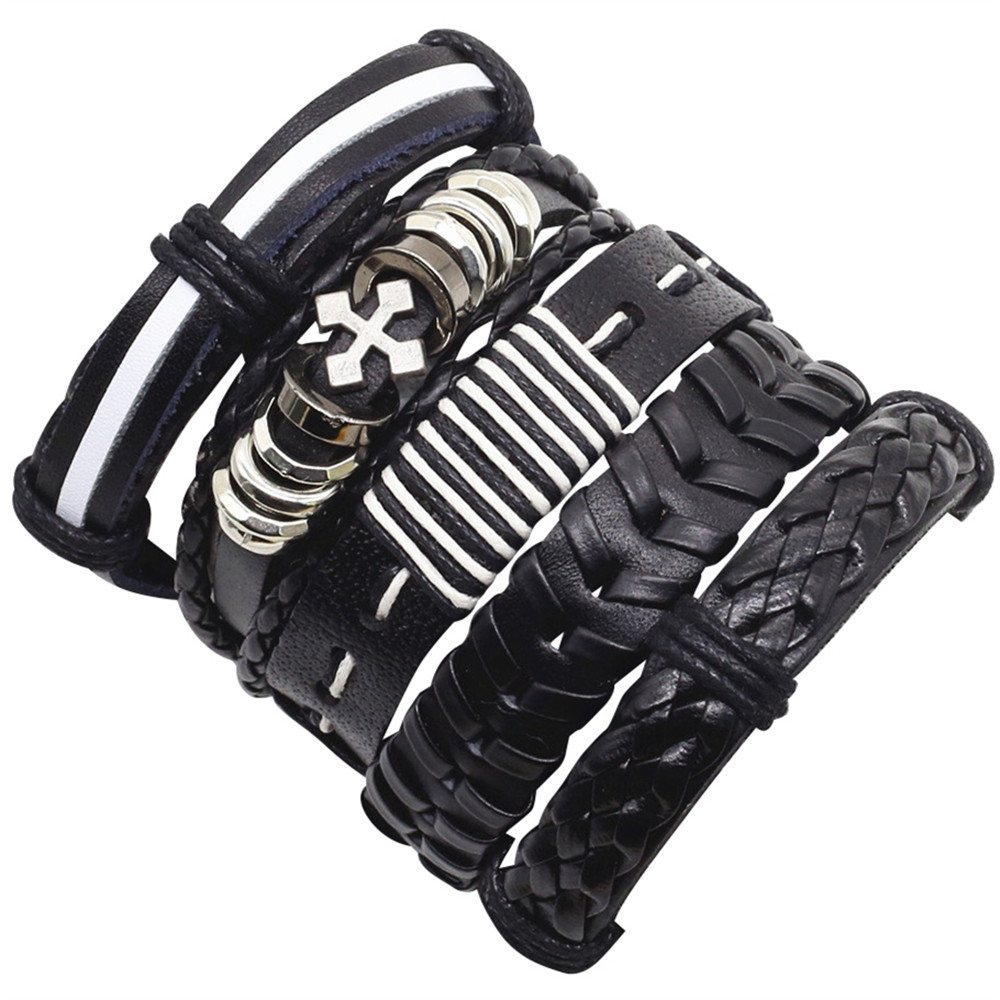 Bracelets & Bangles 5-6pcs/set New Femme Homme Female Vintage Weave Cuff Wrap Genuine Leather Mens Owl Charm Cross Bracelets Women Men Jewelry