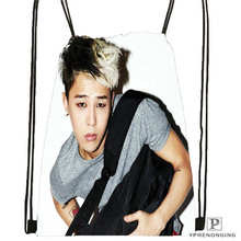 Custom big bang  (3) Band  Drawstring Backpack Bag Cute Daypack Kids Satchel (Black Back) 31x40cm#180612-03-Bigbang